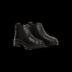 Chelsea Boots neri in vera pelle, suola dentellata, Scarpe, 126905555VINERO035, 002