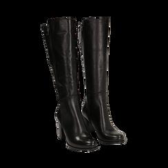 Stivali neri in pelle di vitello, tacco 8 cm , Stivali, 14A200748VINERO036, 002 preview