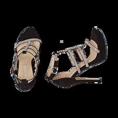 Sandali neri in microfibra, tacco 12,50 cm, OUTLET, 152150112MFNERO037, 003 preview