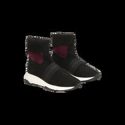 Sneakers nero-rosse sock boots con suola in gomma bianca, Primadonna, 124109763TSNERS035, 002