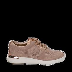 Sneakers rosa in tessuto glitter, Scarpe, 133020229GLROSA035, 001a