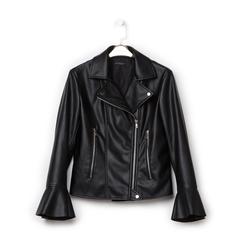 Biker jacket nera in eco-pelle, con maniche scampanate, Primadonna, 136501875EPNERO, 001 preview