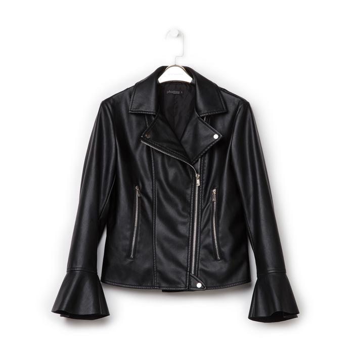 Biker jacket nera in eco-pelle, con maniche scampanate, Primadonna, 136501875EPNERO