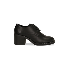 Francesine stringate nere con mini-borchie e punta tonda, Primadonna, 129322751EPNERO036, 001 preview