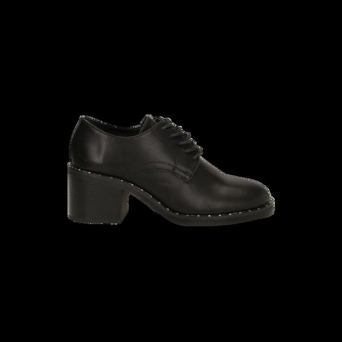 Francesine stringate nere con mini-borchie e punta tonda, Primadonna, 129322751EPNERO036