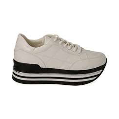 Sneakers platform bianche in eco-pelle, Scarpe, 149361611EPBIAN035, 001 preview
