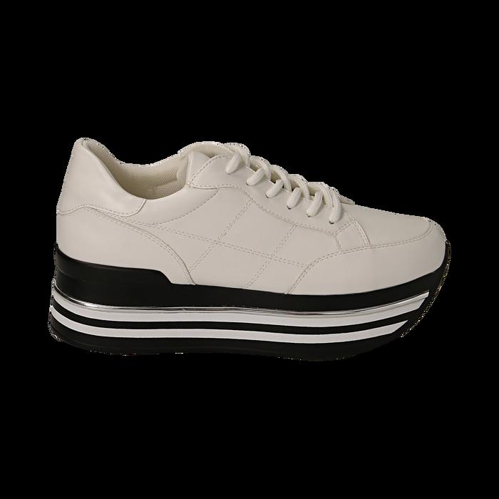 Sneakers platform bianche in eco-pelle, Scarpe, 149361611EPBIAN035