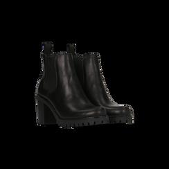 Chelsea Boots neri in vera pelle, tacco alto 7,5 cm, Primadonna, 127723802PENERO040, 002
