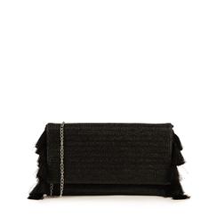 Pochette nera in raffia, Borse, 155122434RFNEROUNI, 001a