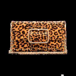 Pochette Leopardata con Borchie Oro Morbida, Borse, 123308722MFLEOPUNI, 004 preview