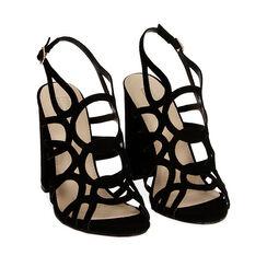 Sandales cage noires en microfibre, talon de 10,5 cm, Primadonna, 152760843MFNERO035, 002a