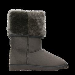 Scarponcini invernali scamosciati grigi con risvolto in eco-fur, Scarpe, 125001204MFGRIG036, 001a