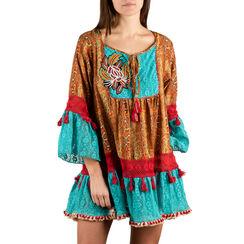 Caftan turquoise en tissu imprimé afro, Primadonna, 150500042TSTURCUNI, 001a