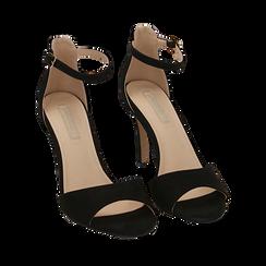 Sandali neri in microfibra, tacco 9,5 cm, Sandali con tacco, 154901361MFNERO035, 002a