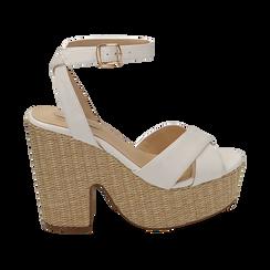 Sandali bianchi in eco-pelle, tacco-zeppa 11,50 cm , Primadonna, 154935671EPBIAN035, 001 preview