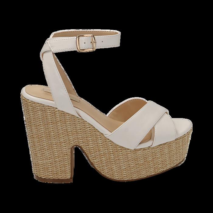 Sandali bianchi in eco-pelle, tacco-zeppa 11,50 cm , Primadonna, 154935671EPBIAN035