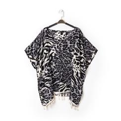 Poncho leopard in tessuto , Abbigliamento, 13B445069TSLEOPUNI, 001 preview