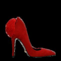 Décolleté rosse con pon-pon, tacco stiletto 11,5 cm, Scarpe, 122100530MFROSS035, 001a