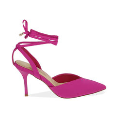 Slingback lace-up fucsia in lycra, tacco 9 cm , Primadonna, 172106281LYFUCS035, 001 preview