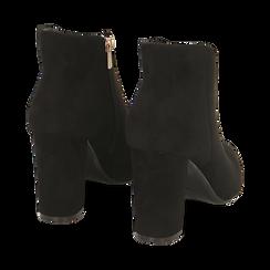 Ankle boots en microfibre noir, talon 9 cm, Promozioni, 164916101MFNERO036, 004 preview