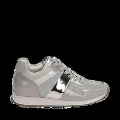 Sneakers glitter argento con dettaglio mirror, 132899414GLARGE035, 001a