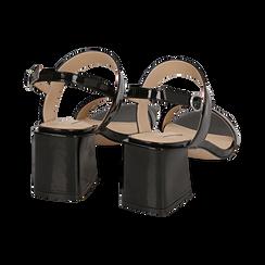 Sandali neri in vernice, tacco 6,50 cm, Primadonna, 152790111VENERO036, 004 preview