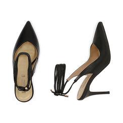 Slingback lace-up negro, tacón 9 cm, Zapatos, 172106620EPNERO036, 003 preview