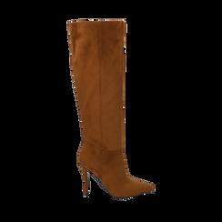 Stivali cuoio in microfibra, tacco 10,50 cm , Primadonna, 162146862MFCUOI036, 001a