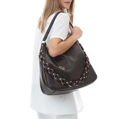 Maxi bag nera in eco-pelle con tracolla decor,