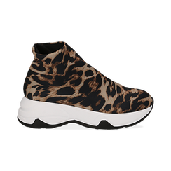 Sneakers a calza leopard in lycra, zeppa 5 cm , Scarpe, 142008357LYLEMA036, 001 preview