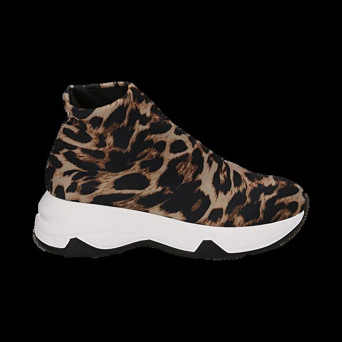 Sneakers a calza leopard in lycra, zeppa 5 cm , Scarpe, 142008357LYLEMA036