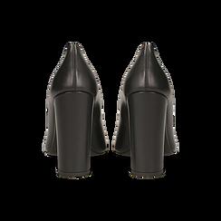 Décolleté nere in vera pelle con punta affusolata, tacco quadrato 10 cm, Scarpe, 12D614412VINERO, 003 preview