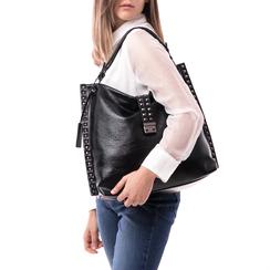 Maxi bag nera in laminato , Borse, 142409318LMNEROUNI, 002a