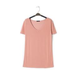 T-shirt con scollo a V nude in tessuto, Primadonna, 13F750713TSNUDEM, 001 preview
