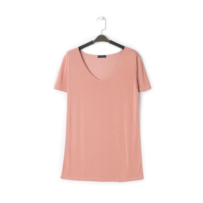 T-shirt con scollo a V nude in tessuto, Primadonna, 13F750713TSNUDEM