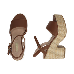Sandali cuoio in eco-pelle con plateau, tacco 11 cm , Saldi, 133401986EPCUOI036, 003 preview