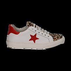 Sneakers bianco/rosse in pelle con pattina leopard, Scarpe, 13C300029PEBIRO036, 001 preview