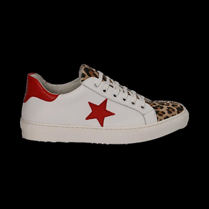 Sneakers bianco/rosse in pelle con pattina leopard, Scarpe, 13C300029PEBIRO036
