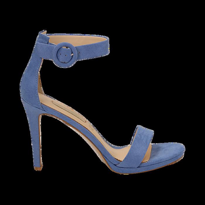 rivenditore all'ingrosso 987ea 62479 Sandali azzurri in microfibra, tacco stiletto 10 cm