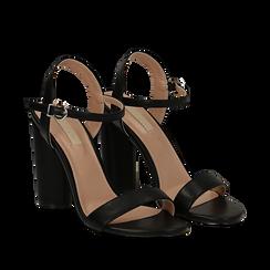 Sandali neri in eco-pelle, tacco 10 cm , Primadonna, 132708374EPNERO037, 002a