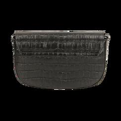 Borsa piccola nera in eco-pelle stampa cocco, Primadonna, 146600202CCNEROUNI, 003 preview