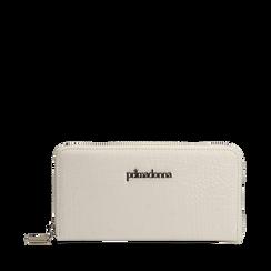 Portafogli bianco in eco-pelle cocco print, NUOVI ARRIVI, 155122519CCBIANUNI, 001a