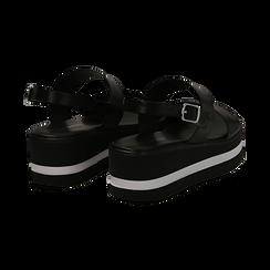 Sandali platform neri in eco-pelle, zeppa 5 cm , Primadonna, 132147512EPNERO036, 004 preview