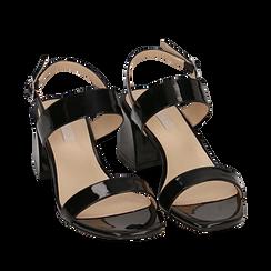 Sandali neri in vernice, tacco 6,50 cm, Primadonna, 152790111VENERO036, 002a