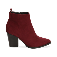 Ankle boots bordeaux in microfibra, tacco 8,50 cm, Primadonna, 160585965MFBORD035, 001 preview