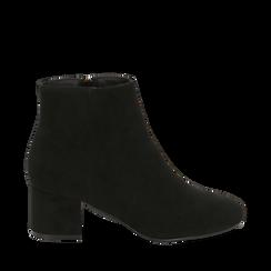 Ankle boots neri in microfibra, tacco 5,5 cm , Stivaletti, 142708211MFNERO036, 001a