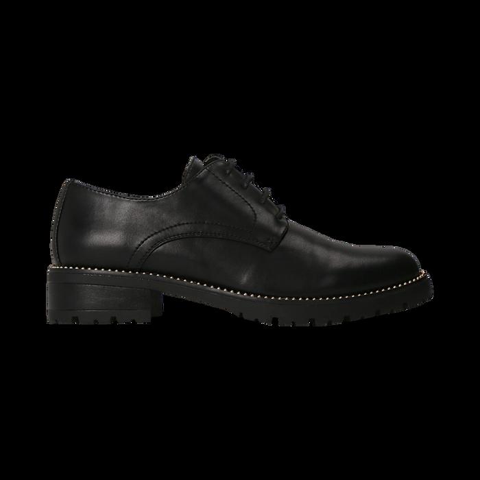Francesine stringate nera con mini-borchie  , Scarpe, 120691312EPNERO