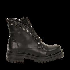 Anfibi neri in eco-pelle con gambale sagomato, Scarpe, 140618196EPNERO036, 001a
