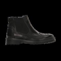 Chelsea Boots neri in vera pelle, tacco basso, Scarpe, 127723704VINERO, 001 preview