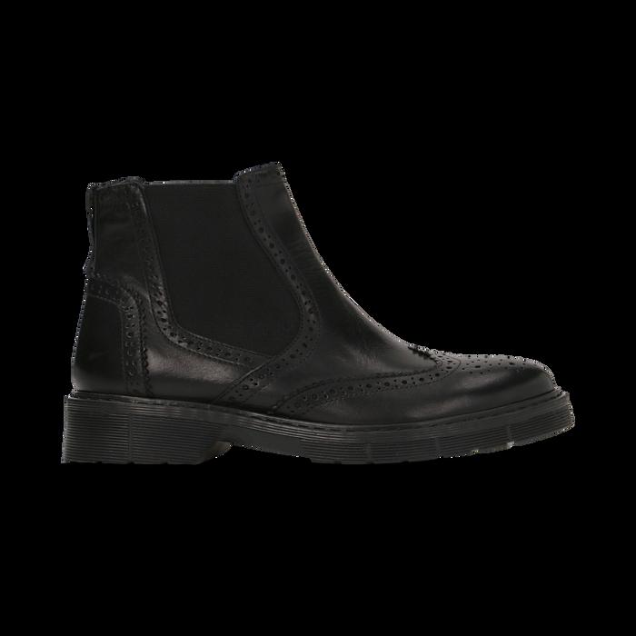 Chelsea Boots neri in vera pelle, tacco basso, Scarpe, 127723704VINERO